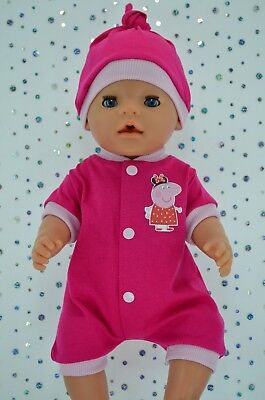 "Play n Wear Doll Clothes To Fit 17"" Baby Born HOT PINK/PINK ROMPER~HAT"
