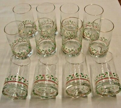 12 Arby's 1984 Christmas Collection Holly & Berries Tumblers / Glasses