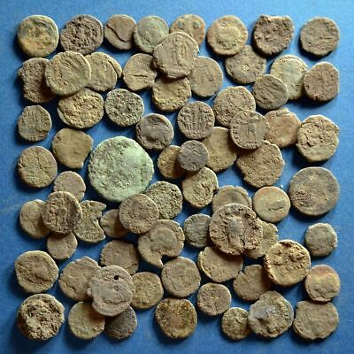 Lot of 70 Uncleaned Low Quality Roman Bronze Coins