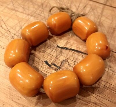 EXCEPTIONAL Heavy Antique Baltic Butterscotch Amber Beads Marbled