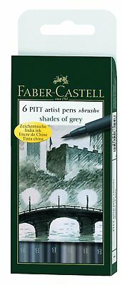 Faber-Castell - Pitt Artist Pens Set Of 6 Brush Tips-Shades Of Grey