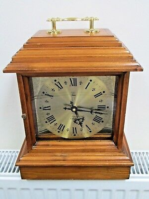 Large Wooden Mantel Clock Hand Crafted and Signed by E Davies Of Chester No 9008