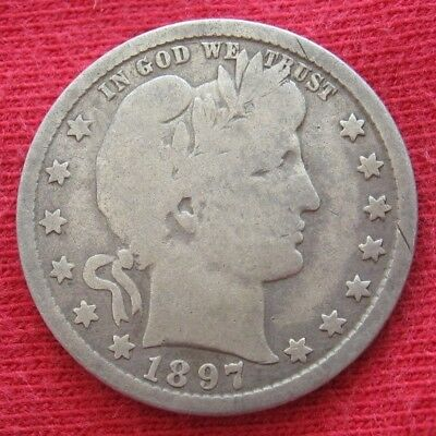 1897 O Barber Liberty Head Quarter New Orleans Mint Silver 25 Cent Coin SEMI-KEY