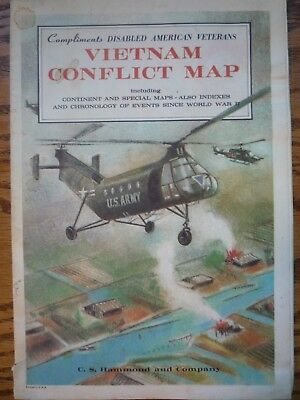 1965 VIETNAM CONFLICT MAP C.S.Hammond & Co. Chronology of Events Disabled vets