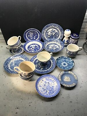 A Random Job Lot Collection Of Various Blue And White China Pieces