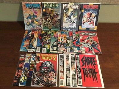 Lot Of 21 Wolverine, Weapon X,  Sabertooth Comics And Wolverine Graphic Novels