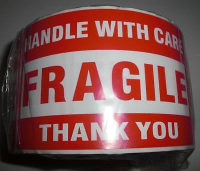 FRAGILE HANDLE WITH CARE Thank You 3x5 RED Large Sticker 10-20-50 Labels (L@@K)