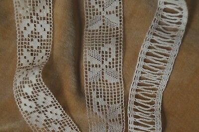 3 lengths of antique French hand made bobbin lace trim, 3 different styles