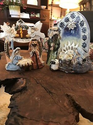 Pair Of Blue Sky Clayworks Nativity Scenes