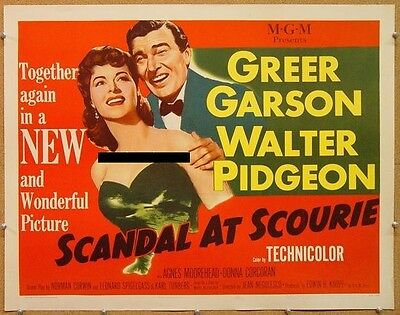 SCANDAL AT SCOURIE, 1953, Greer Garson, US Half Sheet: STYLE A: UNFOLDED Scarce