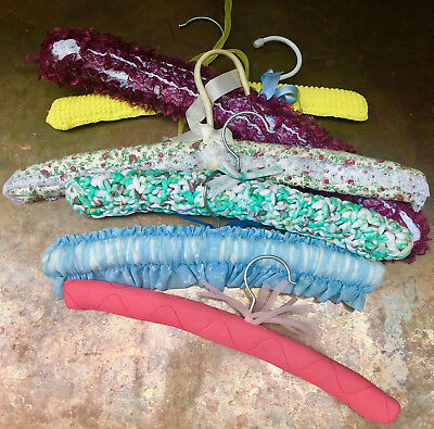 6 Vintage Granny Clothes Padded Hangers Assorted Flower Pattern,knitted & Lace
