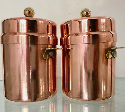 Vintage French Pair Of Copper Kitchen Food Containers With Lids & Brass Handles