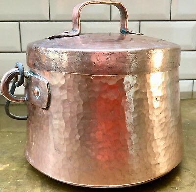 Antique French Hand Made Beaten Copper Cooking Pot With Lid And Iron Handle