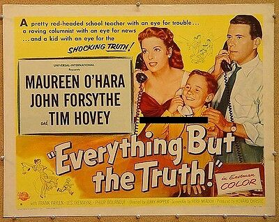 EVERYTHING BUT THE TRUTH, 1956, Maureen O'Hara US Half Sheet: STYLE B, UNFOLDED