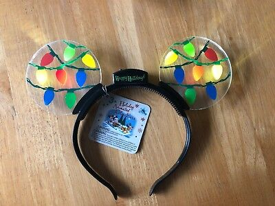 NEW Disney Parks Christmas Holiday Mickey Mouse Ears Headband Light Up GLOW