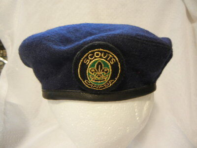 BOY SCOUTS CANADA OFFICIAL NAVY BLUE BERET CAP SIZE ADULT SMALL 55 cm VGC