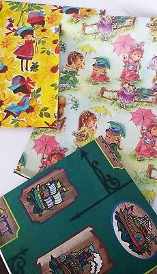 Vtg Wrapping Paper - 5 pc - Girls/Parasols/Ship/Trains/Air Balloons/Paddle Welr