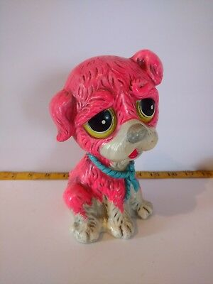 Cute Vintage Chalkware 1966 Pink Puppy Dog Coin Bank