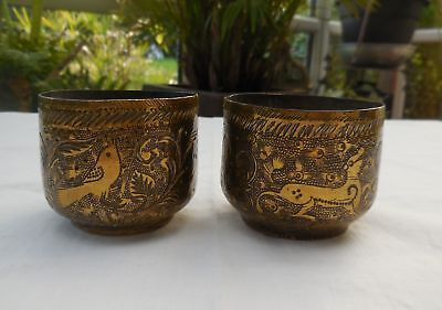 Antique Indian Eastern Brass Engraved Dogs Birds Small Bowls Cups x 2