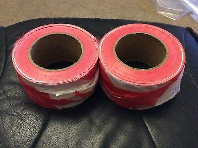 Barrier tape. Red and white. Non adhesive. 2 rolls. Hazard warning tape. £4