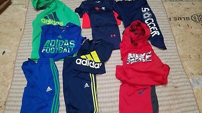 Boys 10pc fall/winter size M 10-12 clothes lot Under Armour Adidas Nike athletic