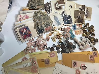 Civil War Lot Coins+Currency+Stamps+Buttons-Photos+Political+Militaria+Csa +++