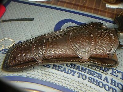 Vintage style tooled western double loop holster, marked