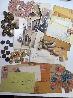 Estate: Civil War Starter Lot:coins+Stamps+Bullets+Collectibles+Militaria++