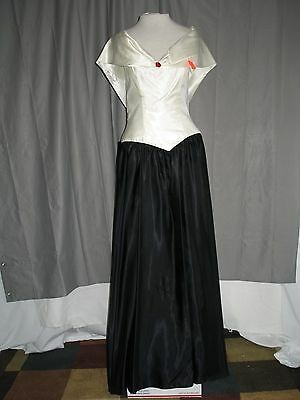 1920s Great Gatsby Style Black White Satin Formal Evening Cocktail Dress