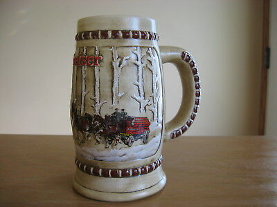 1981 Budweiser CS50 Holiday Beer Stein Snowy Woodland Snow Covered Birch Trees