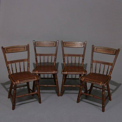 Four Antique Hitchcock School Primitive Painted and Gilt Plank Bottom Chairs