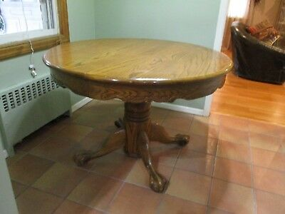 "Vtg 44"" Round to 68"" Oval Inch American Oak Tiger Claw Foot Dining Table"