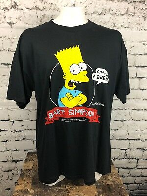 Vintage 90s Bart Simpson 1990 The Simpson's  Gimme a Break Tee Shirt 3XL (251)