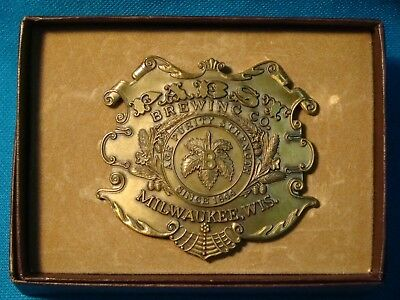 Vintage Pabst Brewing belt buckle Age Purity Strength since 1844 Milwaukee w/box