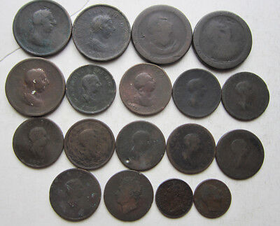 Lot of 18 Great Britain large copper coins: Early 19th century