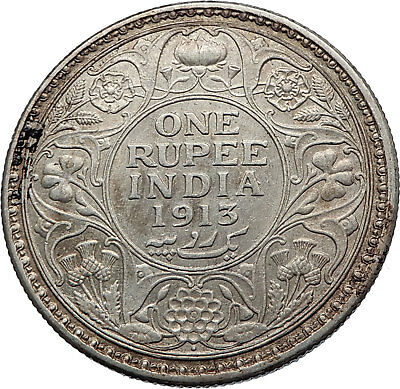 1913 INDIA UK King George V Silver Antique RUPEE Vintage Indian Coin i71902