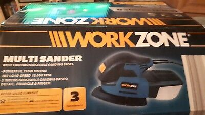 Workzone Multi Sander with 3 interchangeable sanding bases - 220W - 3 Bases