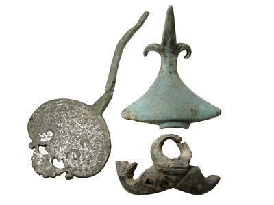 Extremely RARE LOT OF 3 pcs. ROMAN CHARIOT HUGE BRONZE DECORATION FRAGMENTS+++
