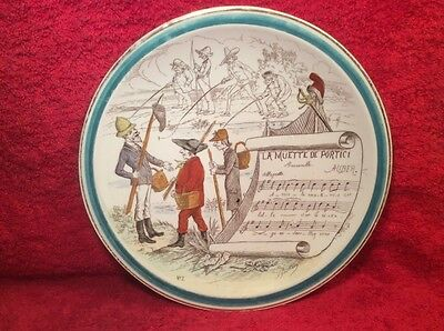 Plate Antique French Faience Majolica Pottery Music Plate c.1800's, fm627