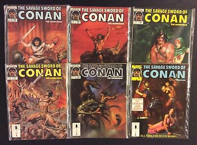 SAVAGE SWORD OF CONAN Comic Book Magazine 6 Issues Betwn #146-181 Marvel 1988 VF