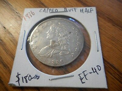 1836 Capped Bust Silver Half Dollar Ungraded / Excellent Condition! LAST CHANCE!
