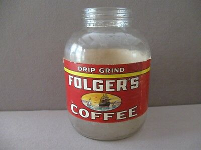 VTG. FOLGERS DRIP GRIND COFFEE JAR  1 Pound VERY GOOD CONDITION - NO LID -