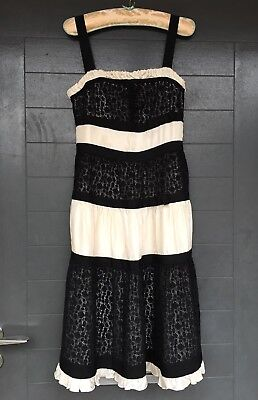 New Whistles Black Lace Ivory Cream Silk Monochrome Dress Vintage 10 Current 8