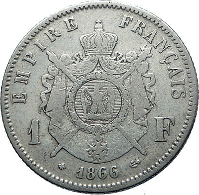 1866 FRANCE Emperor NAPOLEON III Silver 1 Franc French Coin Coat-of-Arms i71880