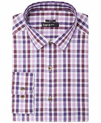 BAR III Dress Shirt SLIM Fit Purple Check Button Up Stretch L/S Men's M $65 New