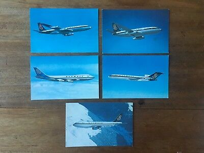 LOT x5 RARE OLYMPIC AIRWAYS AIRLINER REAL PHOTO POSTCARDS BOEING & AiRBUS (F1P6)