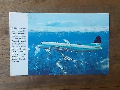 Rare Teal Jet Prop New Zealand Airways Airliner Real Photo Postcards (F1P6)