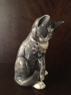 Royal Copenhagen #340 Gray/Dark Gray/White Porcelain Tabby Cat - Denmark
