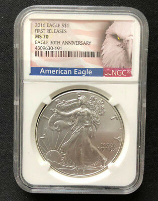 2016 1oz $1 Silver American Eagle Coin NGC MS70 First Releases 30th Anniversary