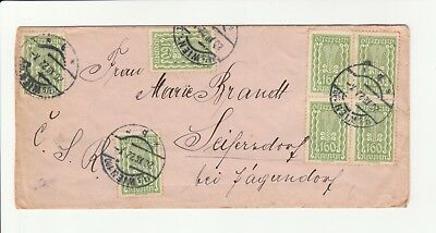 1922 Austrian German Letter with Agriculture Stamps x 8